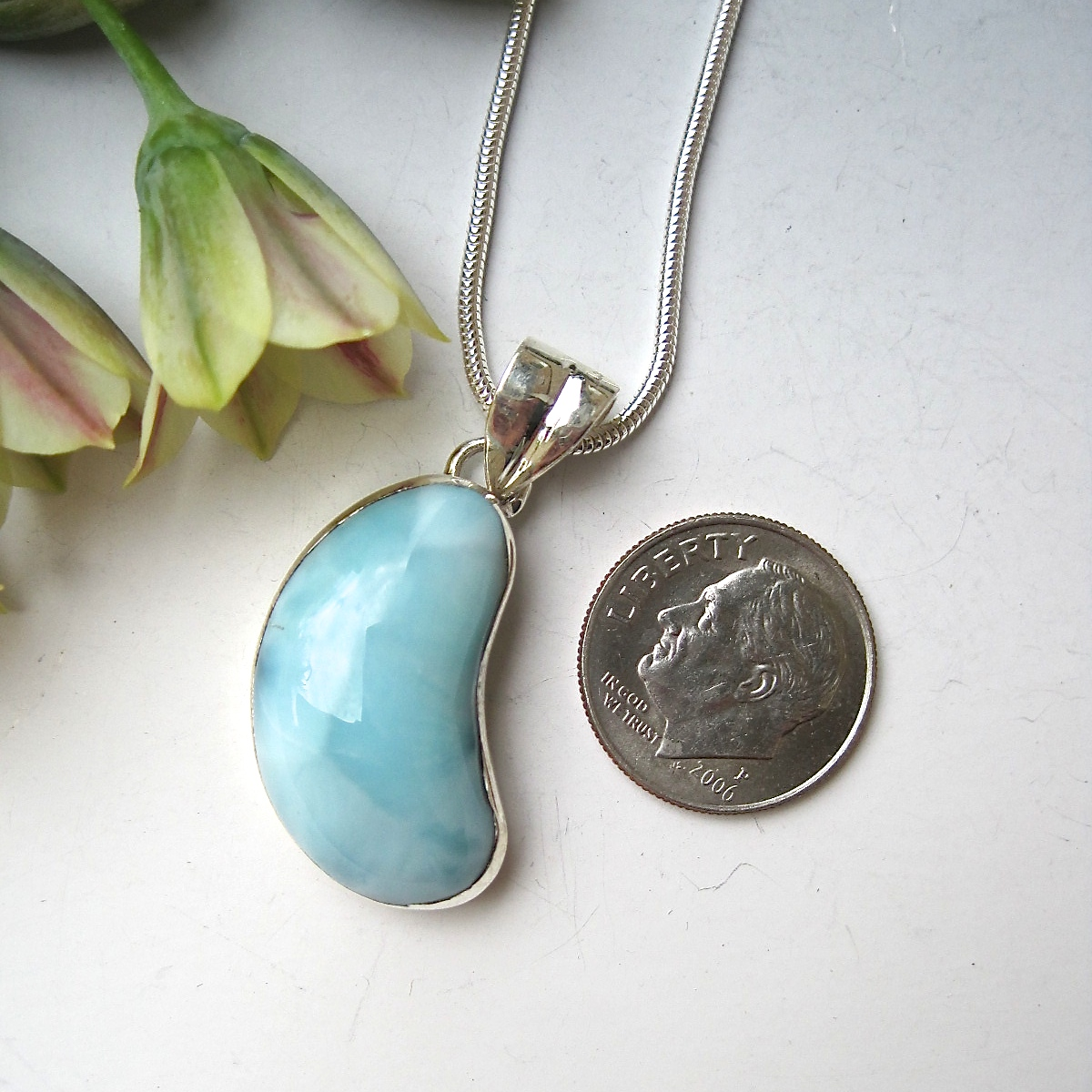 Larimar gemstone and sterling kidney pendant 1 kidney for Jewelry made from kidney stones