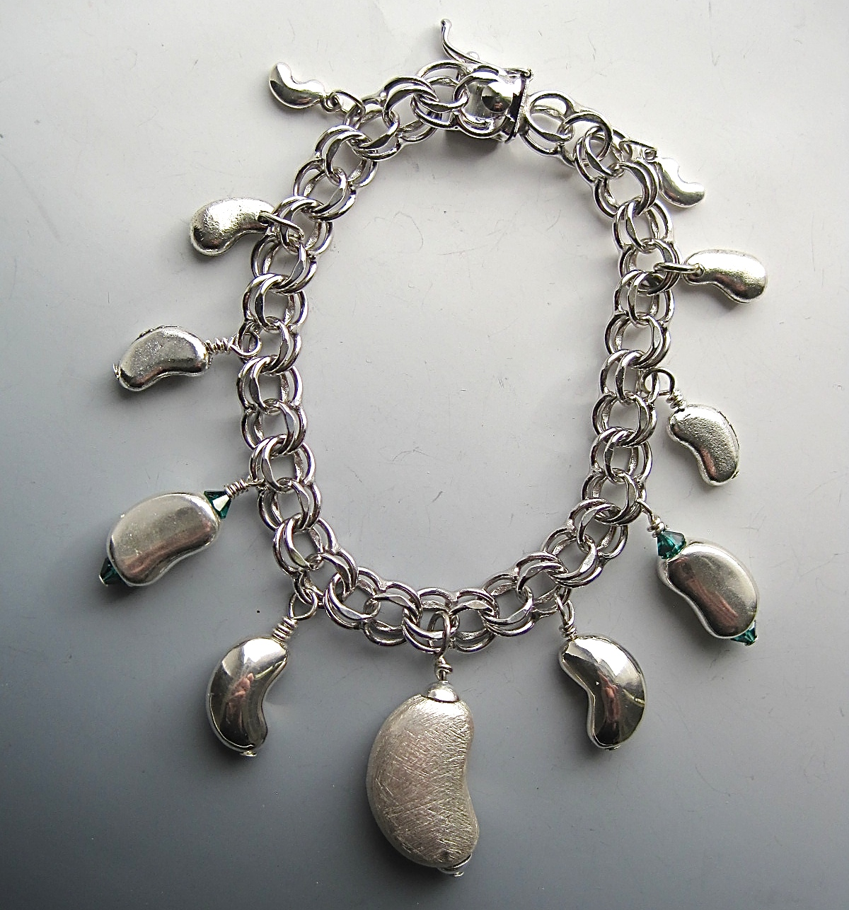 Charms And Bracelets: One-of-a-Kind-Sterling And Pewter Kidney Charm Bracelet #1