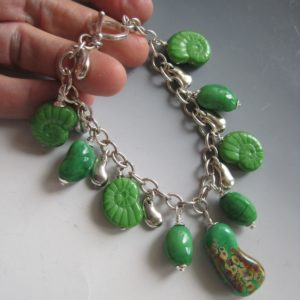 sterling=green glass-kidney-charm-bracelet