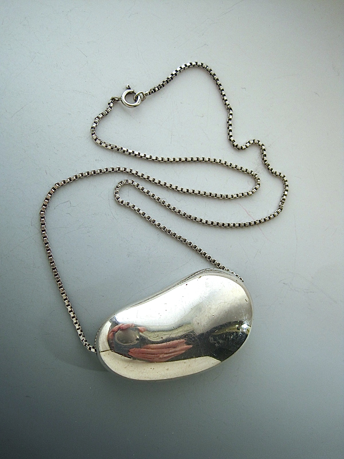 Vintage Large Silver Kidney Bean Necklace 171 Kidney Jewelry