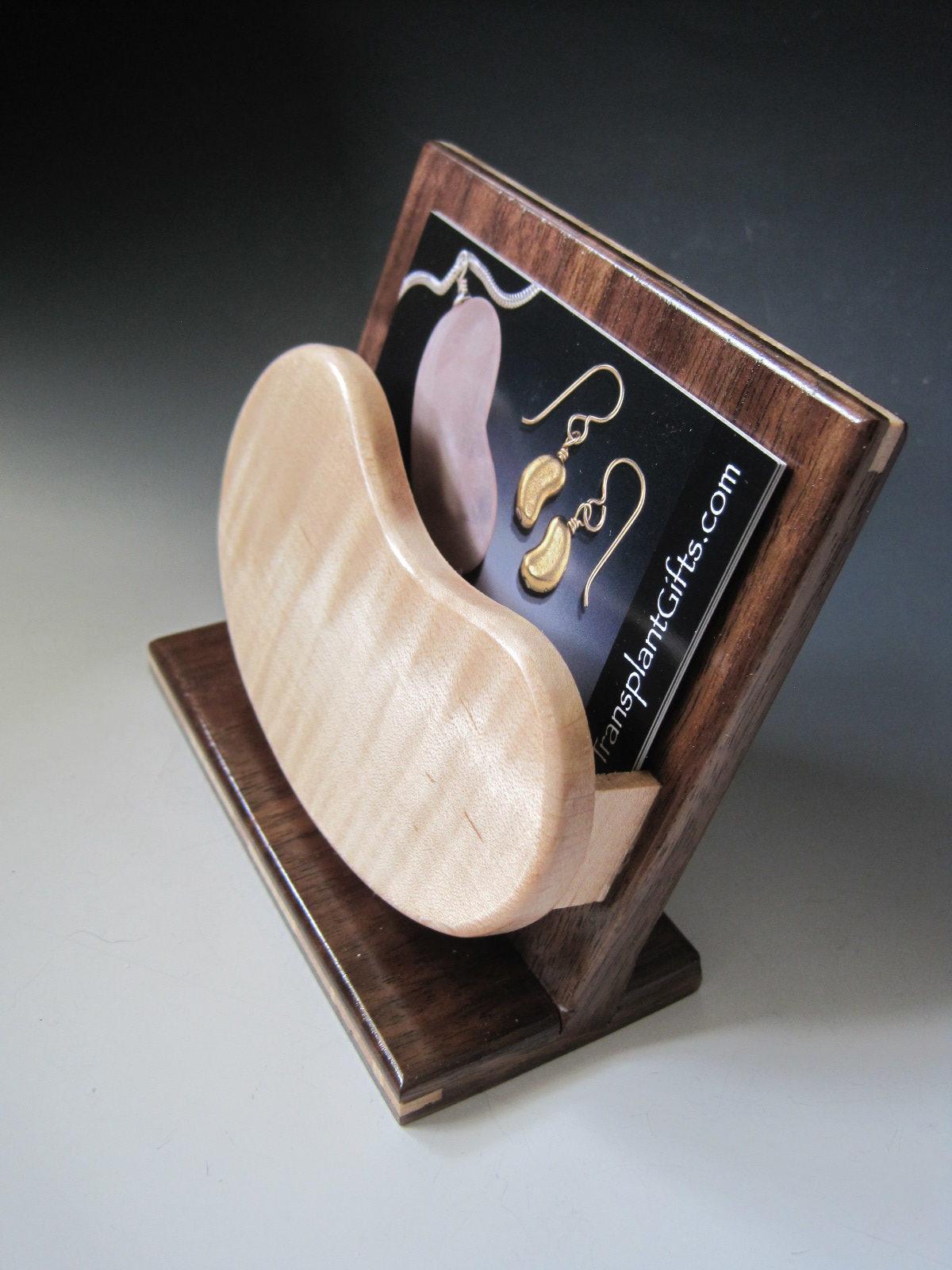 Handcrafted Wood Kidney Shaped Business Card Holder-Choose Light or Dark  Wood Kidney